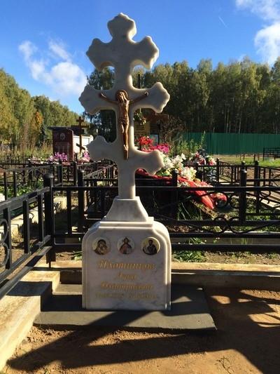 Мемориал Православный памятник на могилу- Крест из мрамора CМА-11.11